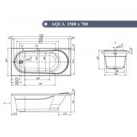 Ванна Ventospa Aqua 150x70 в комплекте с сифоном