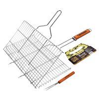 Решетка-гриль для стейков, большая с вилкой, картонный веер в ПОДАРОК, 70(+5)x45x27x2 cм BOYSCOUT /8